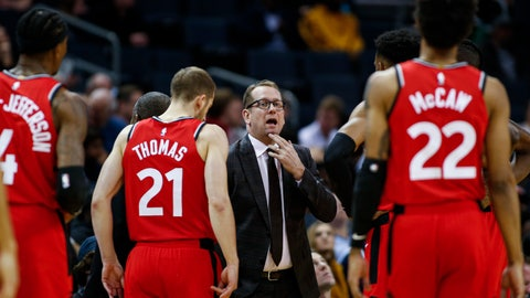 <p>               FILE - In this Jan. 8, 2020, file photo, Toronto Raptors coach Nick Nurse, center, gathers his team during a timeout in the first half of an NBA basketball game against the Charlotte Hornets in Charlotte, N.C. The Raptors have an NBA championship to defend, a very long stay at the Disney complex awaiting them and plenty of unanswered questions on how the restart of the season will work. As the NBA's lone Canadian team, there's an added complexity: The U.S. border. Nurse said Tuesday, June 9, 2020, that his team is still working through various scenarios for having workouts before heading to Disney World near Orlando, Florida along with 21 other teams next month for the restart of the season. (AP Photo/Nell Redmond, File)             </p>