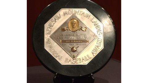 <p>               FILE - In this Jan. 22, 2006, file photo,a  Joe DiMaggio 1947 MVP Award Plaque is displayed at a news conference in New York. The plaque features the name and image of Kenesaw Mountain Landis. (AP Photo/Jennifer Szymaszek, File)             </p>