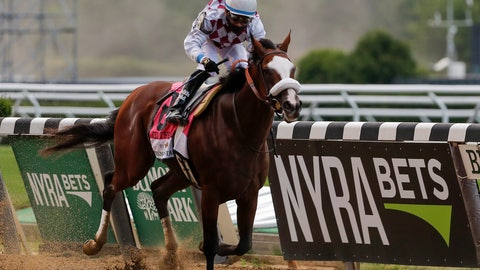 <p>               Tiz the Law (8), with jockey Manny Franco up, crosses the finish line to win the152nd running of the Belmont Stakes horse race, Saturday, June 20, 2020, in Elmont, N.Y. (AP Photo/Seth Wenig)             </p>