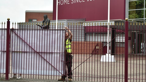 <p>               Workers block the view of the entrance, at Villa Park stadium, a day ahead of the English Premier League soccer match between Aston Villa and Sheffield United, as the league resumes play after a 100-day pandemic-enforced shutdown, at Villa Park in Birmingham, England, Tuesday, June 16, 2020. (AP Photo/Rui Vieira)             </p>