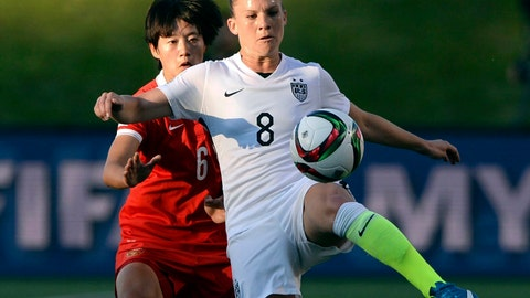 <p>               FILE - In this June 26, 2015, file photo, United States' Amy Rodriguez (8) controls the ball as China's Li Dongna (6) defends during the first half of a quarterfinal match in the FIFA Women's World Cup soccer tournament, in Ottawa, Ontario, Canada. There are just a handful of mothers who play professional soccer in the NWSL. But when the league asks players to travel to Utah and be sequestered for more than a month, moms' voices are important. Rodriguez, who plays for the Utah Royals, has two kids. (Sean Kilpatrick/The Canadian Press via AP, FileO             </p>