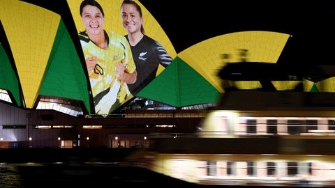 <p>               The Sydney Opera House is illuminated in support of Australia and New Zealand's joint bid to host the FIFA Women's World Cup 2023, in Sydney, Thursday, June 25, 2020. Australia and New Zealand will co-host the Women's World Cup in 2023, with the following edition possibly set to take place just two years later. (Bianca De Marchi/AAP Image via AP)             </p>