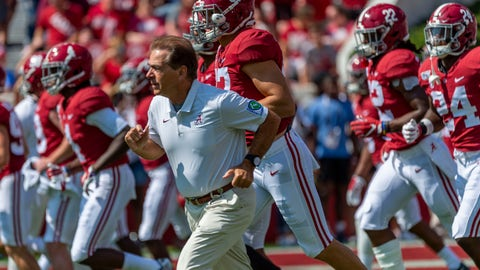 """<p>               FILE - In this Sept. 28. 2019, file photo, Alabama coach Nick Saban leads the team onto the field before an NCAA college football game against Mississippi in Tuscaloosa, Ala. The Alabama football team released an emotional video Thursday, June 25, 2020, speaking out against racism and ending with the message that """"all lives can't matter until Black lives matter."""" Saban and many prominent players, both Black and white, appear in the video that was written by Alabama left tackle Alex Leatherwood. (AP Photo/Vasha Hunt, File)             </p>"""