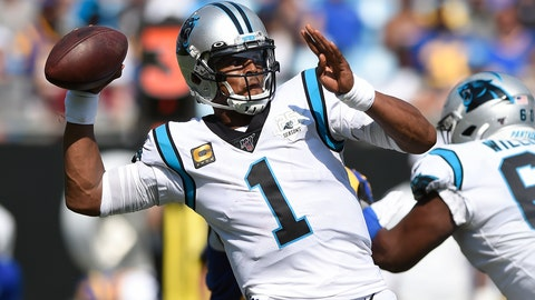 <p>               FILE - In this Sept. 9, 2019, file photo, Carolina Panthers quarterback Cam Newton looks for a receiver during the team's NFL football game against the Los Angeles Rams during the second half in Charlotte, N.C. The New England Patriots have reached an agreement with free-agent quarterback Newton, bringing in the 2015 NFL Most Valuable Player to help the team move on from three-time MVP Tom Brady, a person with knowledge of the deal told The Associated Press. (AP Photo/Mike McCarn, File)             </p>