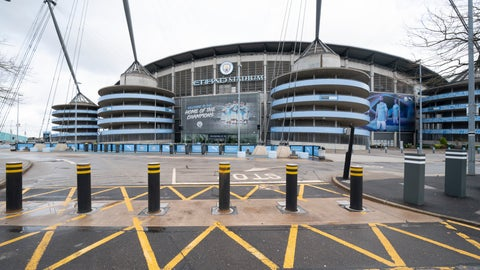 <p>               FILE - In this Saturday March 14, 2020 file photo an almost empty stadium approaches are seen around the Etihad Stadium where Manchester City was due to play Burnley in an English Premier League soccer match after all English soccer games were cancelled due to the spread of the COVID-19 Coronavirus. The Premier League resumes Wednesday June 17 after its three-month suspension because of the coronavirus outbreak. (AP Photo/Jon Super, File)             </p>