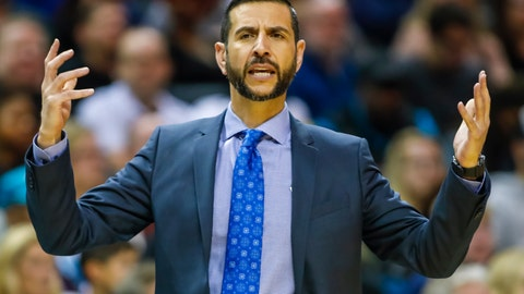 <p>               FILE - In this Nov. 23, 2019, file photo, Charlotte Hornets' head coach James Borrego pleads for results during the first half of an NBA basketball game against the Chicago Bulls in Charlotte, N.C. Borrego believes Charlotte could be at a major disadvantage because they won't be playing in Orlando when the NBA returns to action. (AP Photo/Bob Leverone, File)             </p>