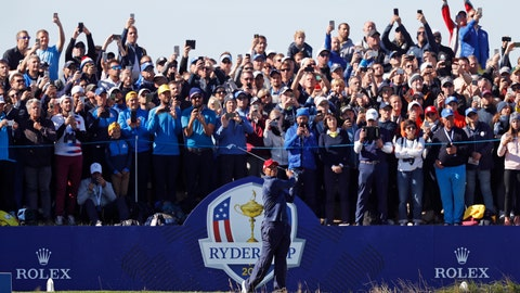 <p>               FILE - In a Sunday, Sept. 30, 2018 file photo, Tiger Woods plays a shot from the 4th tee during a singles match on the final day of the 42nd Ryder Cup at Le Golf National in Saint-Quentin-en-Yvelines, outside Paris, France. A decision is looming whether to play the Ryder Cup in Wisconsin in September 2020 with fans or even postpone it until next year. (AP Photo/Alastair Grant, File)             </p>