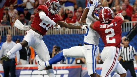 <p>               FILE - In this Aug. 31, 2019, file photo, Alabama defensive backs Jared Mayden (21) and Patrick Surtain II (2) break up a pass intended for Duke wide receiver Jalon Calhoun (5) during the first half an NCAA college football game, in Atlanta. Around the country schools are taking the first cautious and detailed steps toward playing football through a pandemic, attempting to build COVID-19-free bubbles around their teams as players begin voluntary workouts throughout June. Thousands of athletes will be tested for COVID-19 _ though not all. (AP Photo/John Bazemore, File)             </p>