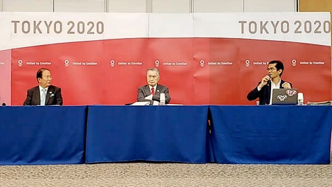 <p>               In this image made from video provided by Tokyo 2020 Official YouTube Channel, Tokyo 2020 Olympics President Yoshiro Mori, center, with CEO Toshiro Muto, left, attends a press conference after an IOC executive board meeting in Tokyo, Wednesday, June 10, 2020. (Tokyo 2020 Official YouTube Channel via AP)             </p>