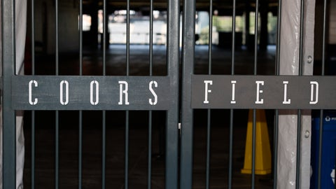 <p>               The main gate of Coors Field, home of the Major League Baseball team the Colorado Rockies, is locked early Tuesday, June 23, 2020, in Denver. The league is waiting for the players' union to respond Tuesday to whether it will agree to health protocols for a 60-game regular-season slate and if players will report for training camp by July 1. (AP Photo/David Zalubowski)             </p>