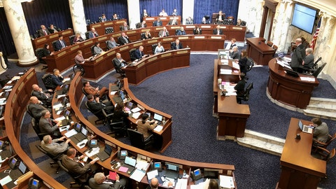 <p>               FILE - This Feb. 27, 2020, file photo, shows the Idaho House of Representatives in the Idaho Statehouse in Boise, Idaho. The Trump administration is supporting Idaho's new law banning transgender women from competing in women's sports. It's the first law of its kind in the nation and the U.S. Department of Justice backed it in a court filing Friday, June 19, 2020. (AP Photo/Keith Ridler, File)             </p>