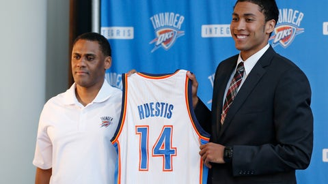 <p>               FILE - In this June 27, 2014, file photo, Oklahoma City Thunder vice president and assistant general manager Troy Weaver, left, holds a jersey with forward Josh Huestis as Huestis is introduced during a news conference in Oklahoma City. The Detroit Pistons hired former Oklahoma City Thunder executive Troy Weaver as their new general manager Thursday, June 18, 2020. (AP Photo/Sue Ogrocki, File)             </p>