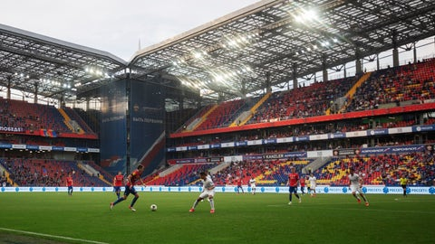 <p>               CSKA's Mario Fernandes, center left, controls the ball during the Russia Soccer Premier League soccer match between CSKA Moscow and Zenit St. Petersburg at CSKA Arena in Moscow, Russia, Saturday, June 20, 2020. The match is being played with a minimum spectators to curb the spread of COVID-19.(Denis Tyrin, PFC CSKA Pool photo via AP)             </p>