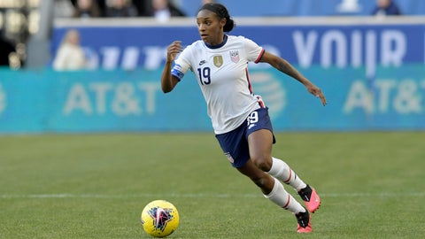 <p>               FILE - In this March 8, 2020, file photo, United States defender Crystal Dunn, who plays for the North Carolina Courage of the National Women's Soccer League, plays during the first half of a SheBelieves Cup soccer match against Spain, in Harrison, N.J. The NWSL opens its Challenge Cup tournament on Saturday, June 27, 2020, and the pressure is on as the first professional team sport in the United States to play amid the coronavirus pandemic. (AP Photo/Bill Kostroun, File)             </p>