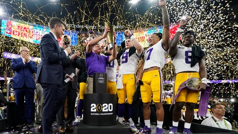 <p>               FILE - In this Jan. 13, 2020, file photo, LSU head coach Ed Orgeron holds the trophy after the team's victory over Clemson in an NCAA College Football Playoff national championship game in New Orleans. LSU has begun asking a number of football players to self-quarantine in the past week because of instances in which some players tested positive for COVID-19 after social interactions outside of the Tigers' training facility. (AP Photo/David J. Phillip, File)             </p>