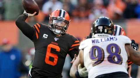 <p>               FILE - In this Sunday, Dec. 22, 2019 file photo, Cleveland Browns quarterback Baker Mayfield (6) passes against the Baltimore Ravens during the second half of an NFL football game in Cleveland. Cleveland Browns quarterback Baker Mayfield plans to kneel during the national anthem this upcoming season to support protests of social injustice, police brutality and racism, Saturday, June 13, 2020. (AP Photo/Ron Schwane, File)             </p>