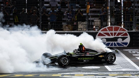 <p>               FILE - In this June 8, 2019, file photo, Josef Newgarden does a burnout after winning the IndyCar auto race at Texas Motor Speedway in Fort Worth, Texas. IndyCar opens its pandemic-delayed season with an all-in-one-day show Saturday on the fast high-banked 1 ½-mile oval at Texas Motor Speedway, more than eight months after the 2019 finale. (AP Photo/Larry Papke, File)             </p>