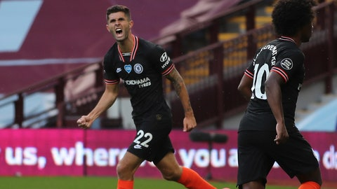 <p>               Chelsea's Christian Pulisic celebrates after scoring his side's opening goal during the English Premier League soccer match between Aston Villa and Chelsea at the Villa Park stadium in Birmingham, England, Sunday, June 21, 2020. (Molly Darlington/Pool via AP)             </p>