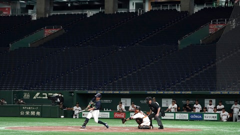 <p>               FILE - In this Feb. 29, 2020, file photo, spectators' stands are empty during a play in a preseason baseball game between the Yomiuri Giants and the Yakult Swallows at Tokyo Dome in Tokyo. The Yomiuri Giants, Japan's most famous baseball team, called off a preseason game on Wednesday, June 3,  with reports that at least one player may have tested positive for the coronavirus.(AP Photo/Eugene Hoshiko, File)             </p>