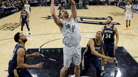 <p>               FILE  - In this Saturday, Feb. 2, 2019 file photo, San Antonio Spurs center Pau Gasol (16) shoots past New Orleans Pelicans center Jahlil Okafor (8), forward Wesley Johnson (33) and guard Kenrich Williams (34) during the second half of an NBA basketball game in San Antonio. Pau Gasol wants to return to the NBA but does not rule out going back to Europe for his retirement. (AP Photo/Eric Gay, File)             </p>
