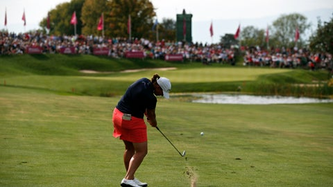 <p>               FILE - In this Sept. 16, 2018, file photo, Angela Stanford plays an approach shot on the 18th hole during the fourth round of the Evian Championship women's golf tournament in Evian, eastern France. The LPGA Tour has lost its first major because of the COVID-19 pandemic. The tour says the Evian Championship has been canceled this year because of travel and border restrictions in France. (AP Photo/Francois Mori, File)             </p>