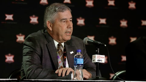 <p>               FILE - In this March 12, 2020, file photo, Big 12 commissioner Bob Bowlsby talks to the media after canceling the remaining NCAA college basketball games in the Big 12 Conference tournament due to concerns about the coronavirus in Kansas City, Mo. Big 12 schools still got a strong payout from the conference during the pandemic. The revenue distribution to the league's 10 schools for the 2019-20 school year averages $37.7 million each. That figure announced Friday, May 29, 2020, at the end of the league's virtual spring meetings was down only about $1.1 million a school from last year. (AP Photo/Charlie Riedel, File)             </p>
