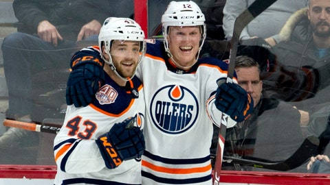 """<p>               FILE - This Feb. 28, 2019, file photo shows Edmonton Oilers center Colby Cave (12), right, celebrating his goal with teammate Josh Currie during the third period of an NHL hockey game against the Ottawa Senators in Ottawa, Ontario. Edmonton Oilers prospect Cooper Marody has written a song in memory of teammate Colby Cave to raise money for a memorial fund. Cave, from Battleford, Saskatchewan, died April 11 in a Toronto hospital after suffering a brain bleed. He was 25. Marody's song """"Agape"""" will be released Friday, June 12, 2020, on Apple Music and Spotify. Marody, from Brighton, Michigan, and Cave were teammates last season on the American Hockey League's Bakersfield Condors. (Adrian Wyld/The Canadian Press via AP, File)             </p>"""