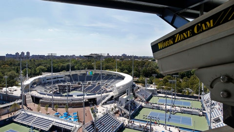 <p>               FILE - In this Aug. 24, 2016, file photo, a closed circuit construction camera peers out at the Grandstand stadium during qualifying rounds at the Billie Jean King National Tennis Center in New York. Nascent forms of crowd monitoring — like laser-driven density detection and camera-based line-length calculations — will likely grow faster in a post-pandemic era of live sports,  (AP Photo/Kathy Willens, File)             </p>