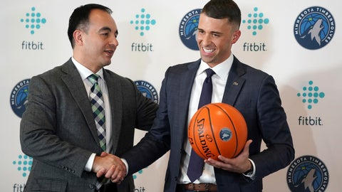 <p>               FILE - In this May 21, 2019 file photo Minnesota Timberwolves President of Basketball Operations Gersson Rosas, left, shakes hands with Ryan Saunders, after a news conference in Minneapolis. The season is officially, or mercifully, over for the Minnesota Timberwolves now that the NBA has decided to restart the virus-halted schedule with 22 teams. There was too much disruption to properly assess the job that coach Ryan Saunders did, or the viability of the roster they've settled on for now, but what was clear in 2019-20 was that first-year president Gersson Rosas was capable and willing of making major changes.  (Anthony Souffle/Star Tribune via AP)             </p>