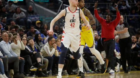 <p>               Washington Wizards forward Davis Bertans (42) reacts after shooting a 3-point basket against the Golden State Warriors during the second half of an NBA basketball game in San Francisco, Sunday, March 1, 2020. (AP Photo/Jeff Chiu)             </p>