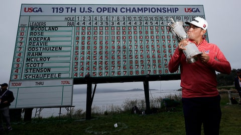 <p>               FILE - In this June 16, 2019, file photo, Gary Woodland poses with the trophy after winning the U.S. Open Championship golf tournament in Pebble Beach, Calif. Due to the coronavirus pandemic, the golf to watch on Father's Day this year will not be the U.S. Open as is usually the case. (AP Photo/David J. Phillip, File)             </p>