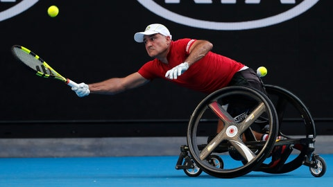 <p>               FILE - In this Jan. 27, 2018, file photo, France's Stephane Houdet reaches for a forehand return to Japan's Shingo Kunieda in the men's wheelchair final at the Australian Open tennis championships in Melbourne, Australia. There might be wheelchair tennis competition at the 2020 U.S. Open, after all. The U.S. Tennis Association now says it should have consulted wheelchair athletes before announcing it was canceling their events at Flushing Meadows and is willing to change its stance. (AP Photo/Vincent Thian, File)             </p>