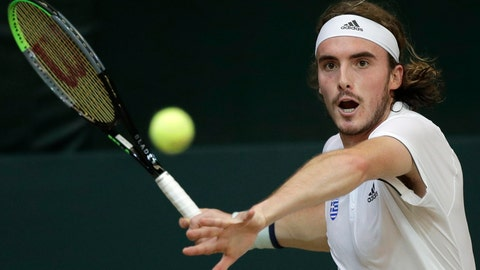 <p>               FILE  - In this Friday, March 6, 2020 file photo, Stefanos Tsitsipas of Greece prepares to return the ball to Alberto Lim of the Philippines during their Davis Cup World Group II play-offs first round singles match in Manila, Philippines. Tsitsipas won 6-2, 6-1.  With tennis majors on hold and discussions ongoing over whether the U.S. Open or the French Open can even take place later this year, a new digitally friendly tournament starts Saturday in southern France with four Top 10-ranked players involved.  (AP Photo/Aaron Favila, File)             </p>