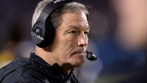 "<p>               FILE - In this Dec. 27, 2019, file photo, Iowa coach Kirk Ferentz watches from the sideline during the second half of the team's Holiday Bowl NCAA college football game against Southern California  in San Diego. Iowa football strength and conditioning coach Chris Doyle has been placed on administrative leave after several black former players posted on social media about what they described as systemic racism in the program. Ferentz made the announcement Saturday, June 6, 2020, calling it ""a defining moment"" for Iowa's football program in a video posted on the team's Twitter account. (AP Photo/Orlando Ramirez, File)             </p>"