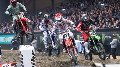 <p>               FILE - In this Nov. 30, 2018, file photo, competitors start the 33th Geneva International Supercross races at the Palexpo in Geneva, Switzerland. Supercross joined the rest of the sports world in shutting down during the coronavirus pandemic. Following the lead of NASCAR and UFC, the roughest sport on wheels returns this weekend. (Adrien Perritaz/Keystone via AP, File)             </p>