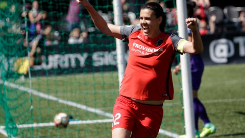 <p>               FILE - In this April 15, 2017, file photo, Portland Thorns forward Christine Sinclair celebrates scoring a goal during the second half of their NWSL soccer match against the Orlando Pride in Portland, Ore. The National Women's Soccer League opens its Challenge Cup tournament on Saturday, June 27, 2020, and the pressure is on as the first professional team sport in the United States to play amid the coronavirus pandemic. (AP Photo/Don Ryan, File)             </p>