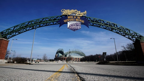 <p>               Miller Park is seen March 24, 2020, in Milwaukee. The Brewers were supposed to host Opening Day on Thursday, but the season start was postponed by Major League Baseball because of the coronavirus pandemic. (AP Photo/Morry Gash)             </p>