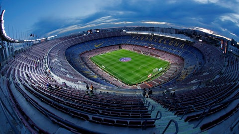 <p>               FILE In this Thursday, Jan. 30, 2020 a general view of the Camp Nou stadium prior of a Spanish Copa del Rey soccer match between Barcelona and Leganes at the Camp Nou stadium in Barcelona, Spain. (AP Photo/Joan Monfort, File)             </p>