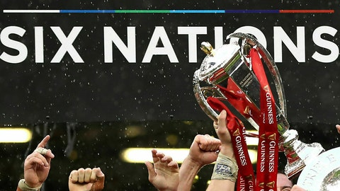<p>               FILE - In this file photo dated Saturday, March 16, 2019, Wales rugby team celebrates with their trophies after winning the Six Nations championships, at the Millennium stadium in Cardiff, Wales.  This year's competition has yet to be completed after it was halted by the coronavirus pandemic but it is announced Wednesday June 3, 2020, that next season's Six Nations could be expanded to a home-and-away format under proposals being considered by the competing nations.(David Davies/FILE via AP)             </p>