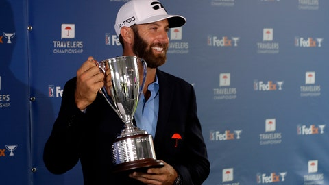 <p>               Dustin Johnson poses with the trophy after winning the Travelers Championship golf tournament at TPC River Highlands, Sunday, June 28, 2020, in Cromwell, Conn. (AP Photo/Frank Franklin II)             </p>