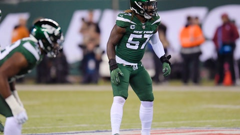 <p>               FILE - In this Oct. 21, 2019, file photo, New York Jets inside linebacker C.J. Mosley gets ready for a play by the New England Patriots during the first half of an NFL football in East Rutherford, N.J. Mosley is feeling healthy and ready to be a force again in the middle of the Jets' defense. The star middle linebacker missed almost all of last year in his first season with his new team because of a groin/core muscle injury. But, Mosley has been given a good report from the doctors, and expects to have no limitations during training camp. (AP Photo/Bill Kostroun, File)             </p>
