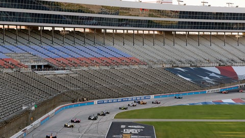 <p>               Drivers come head onto the front stretch during an IndyCar auto race restart following a crash at Texas Motor Speedway in Fort Worth, Texas, Saturday, June 6, 2020. (AP Photo/Tony Gutierrez)             </p>
