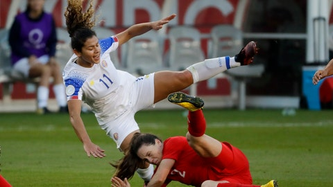 <p>               FILE - In this Feb. 7, 2020, file photo, Costa Rica forward Raquel Rodriguez, top, is knocked over by Canada defender Allysha Chapman during the first half of a CONCACAF women's Olympic qualifying soccer match in Carson, Calif. Raquel Rodriguez, better known as Rocky to her fans, was in route to join her new National Women's Soccer League team when sports were shut down by the coronavirus.  It certainly wasn't an ideal start for the Costa Rican striker with the Portland Thorns. (AP Photo/Chris Carlson, Fle)             </p>