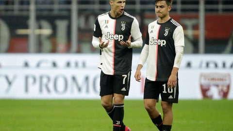 <p>               FILE - In this Feb. 13, 2020 file photo, Juventus' Cristiano Ronaldo, left, speaks with Juventus' Paulo Dybala at the end of an Italian Cup soccer match between AC Milan and Juventus at the San Siro stadium, in Milan, Italy. With Inter, Juventus and Milan -- plus Napoli -- all in action when Italian soccer restarts with the Italian Cup semifinals this week, the effects of the pandemic will still be fresh in the minds of players, coaches and club executives. Without fans inside the stadiums, the second-leg matches begin with Juventus hosting Milan on Friday, June 12, 2020, following a 1-1 first leg.  (AP Photo/Luca Bruno, file)             </p>