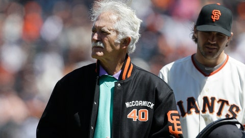 <p>               This April 13, 2012, photo shows former San Francisco Giants pitcher Mike McCormick before a baseball game between the Giants and the Pittsburgh Pirates in San Francisco. McCormick, who won the Cy Young Award in 1967, died Saturday, June 13, 2020, at his home in North Carolina after a long battle with Parkinson's disease. He was 81. (AP Photo/Jeff Chiu)             </p>
