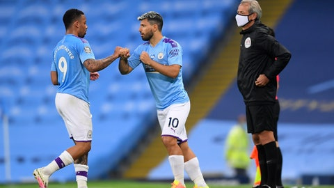 <p>               Manchester City's Gabriel Jesus, left, is replaced by Sergio Aguero during the English Premier League soccer match between Manchester City and Arsenal at the Etihad Stadium in Manchester, England, Wednesday, June 17, 2020. The English Premier League resumes Wednesday after its three-month suspension because of the coronavirus outbreak. (AP photo/Dave Thompson, Pool)             </p>