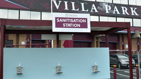 <p>               A view of a sanitisation station, at Villa Park stadium, a day ahead of the English Premier League soccer match between Aston Villa and Sheffield United, as the league resumes play after a 100-day pandemic-enforced shutdown, at Villa Park in Birmingham, England, Tuesday, June 16, 2020. (AP Photo/Rui Vieira)             </p>