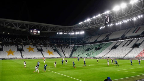 <p>               The Serie A soccer match between Inter Milan and Juventus at the Allianz Stadium in Turin, Italy, Sunday March 8, 2020. The match was played to a closed stadium as a measure against coronavirus contagion. (Marco Alpozzi/LaPresse via AP)             </p>