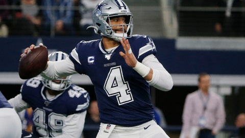 <p>               FILE - In this Dec. 15, 2019, file photo, Dallas Cowboys quarterback Dak Prescott (4) looks to throw in the first quarter of an NFL football game against the Los Angeles Rams in Arlington, Texas. The Cowboys have their star quarterback under contract for the 2020 season. Prescott has signed his $31.4 million tender under the franchise tag. That would be the richest one-year contract in franchise history. (AP Photo/Michael Ainsworth, File)             </p>