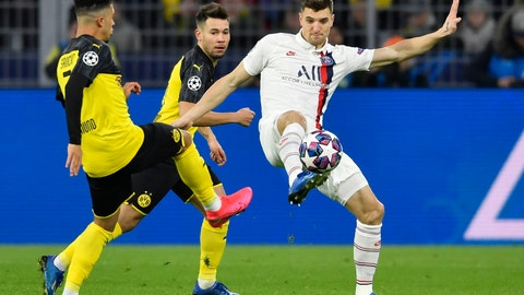 <p>               FILE - In this Tuesday, Feb. 18, 2020 file photo, Dortmund's Jadon Sancho, left, and PSG's Thomas Meunier duels for the ball during the Champions League round of 16 first leg soccer match between Borussia Dortmund and Paris Saint Germain in Dortmund, Germany. Borussia Dortmund signed right back Thomas Meunier from Paris Saint-Germain on Thursday June 25, 2020. (AP Photo/Martin Meissner, File)             </p>